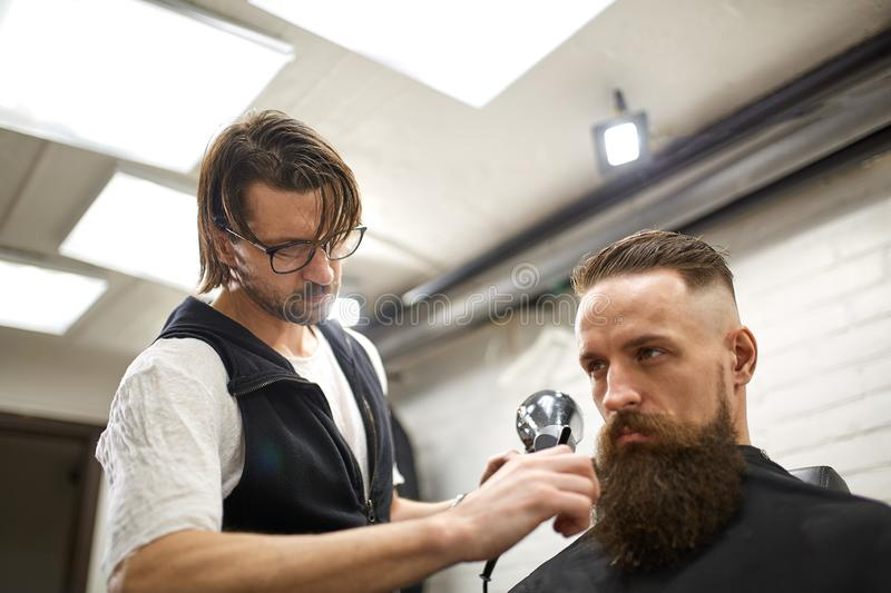 Brutal guy in modern Barber Shop. Hairdresser makes hairstyle a man with a long beard. Master hairdresser does hairstyle. Brutal guy in modern Barber Shop stock image