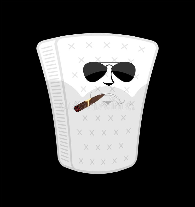 Brutal hard Mattress Serious isolated. squab with cigar emoji Cartoon Style royalty free illustration