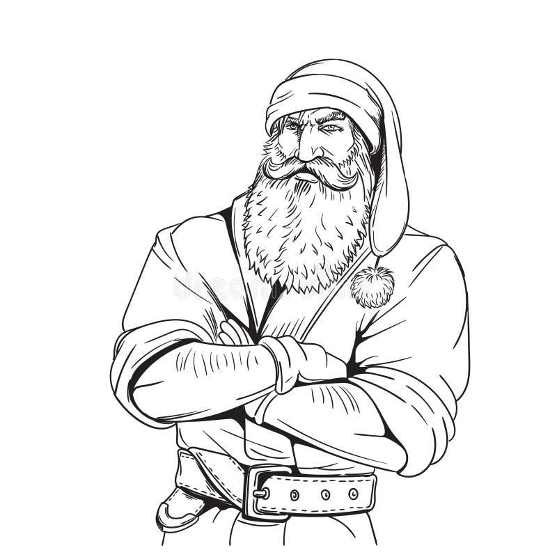 Brutal illustration för Santa Claus tecknad filmstil arkivbilder