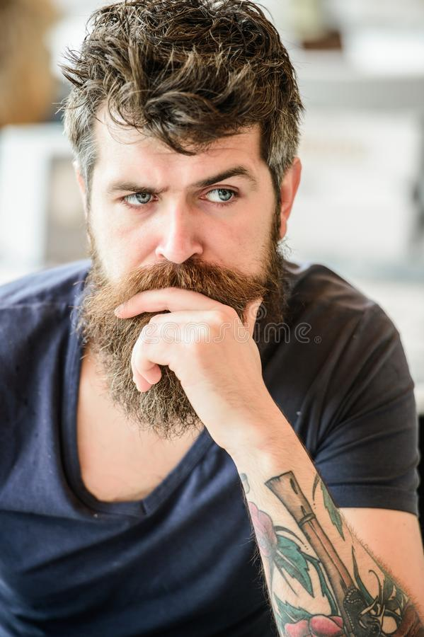 Brutal male needs barber. thoughtful man outdoor. Facial skin care. waiting and tinking. Mature hipster with beard hair. Bearded man feel loneliness. Hair and royalty free stock photos