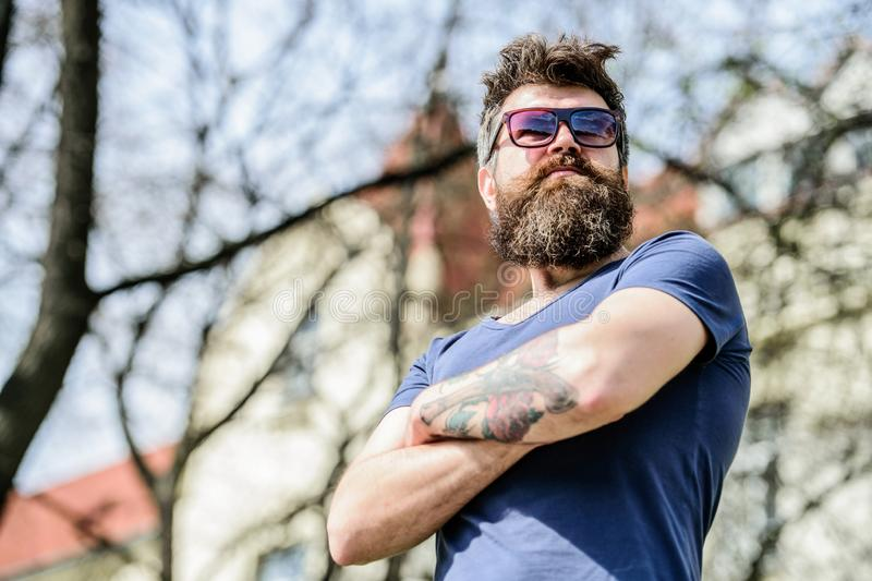 Brutal male with perfect style. summer fashion and beauty. bearded man with lush hair. Free and happy time. Mature royalty free stock photos