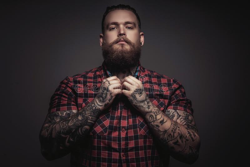 Brutal man with beard and tattoes stock images