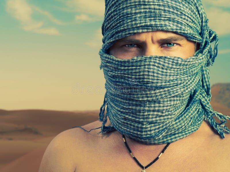 Brutal man in desert