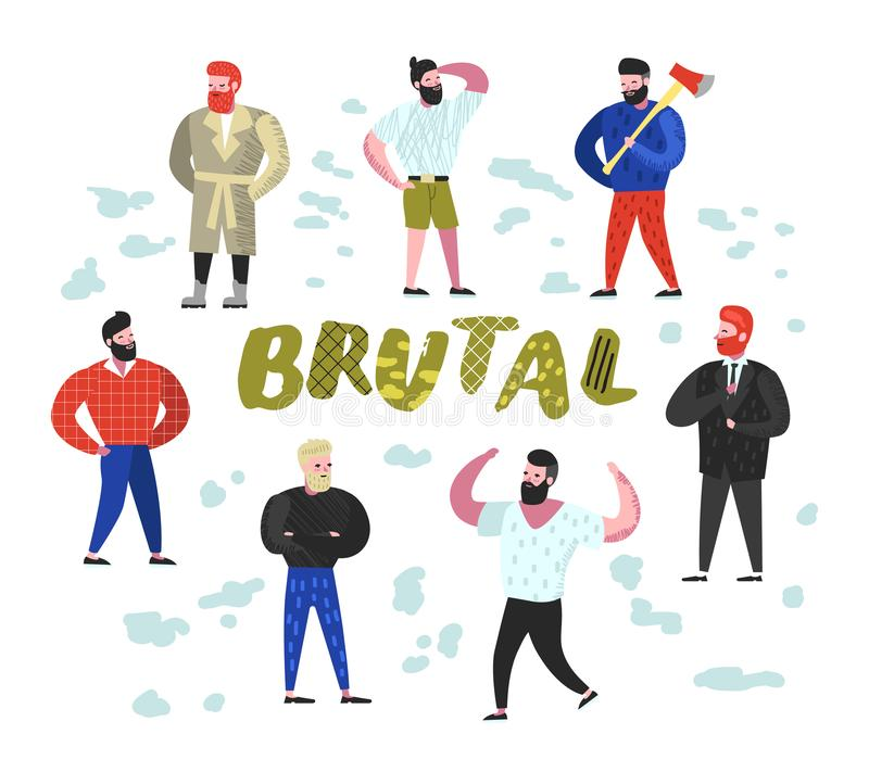 Brutal Man Flat Characters Collection. Funny Bearded Strong Guys Cartoons. Lumberjack, Strongman, Hipster. Vector illustration stock illustration