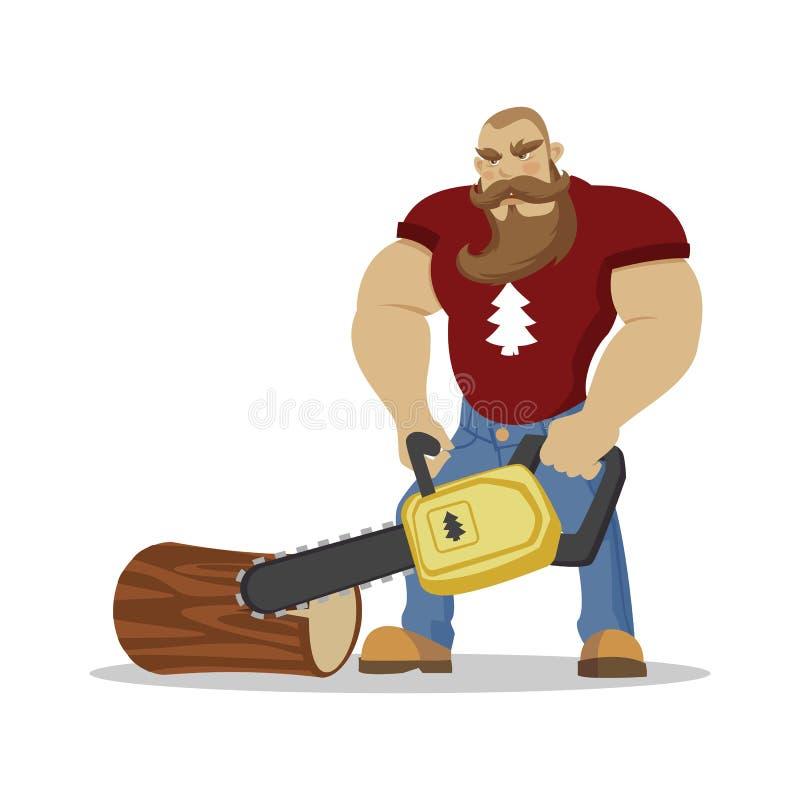 Brutal skäggig man för skogsarbetare i röd rutig skjorta med yxan i händer skogshuggare Fotvandra för reslust och loppbegrepp royaltyfri illustrationer
