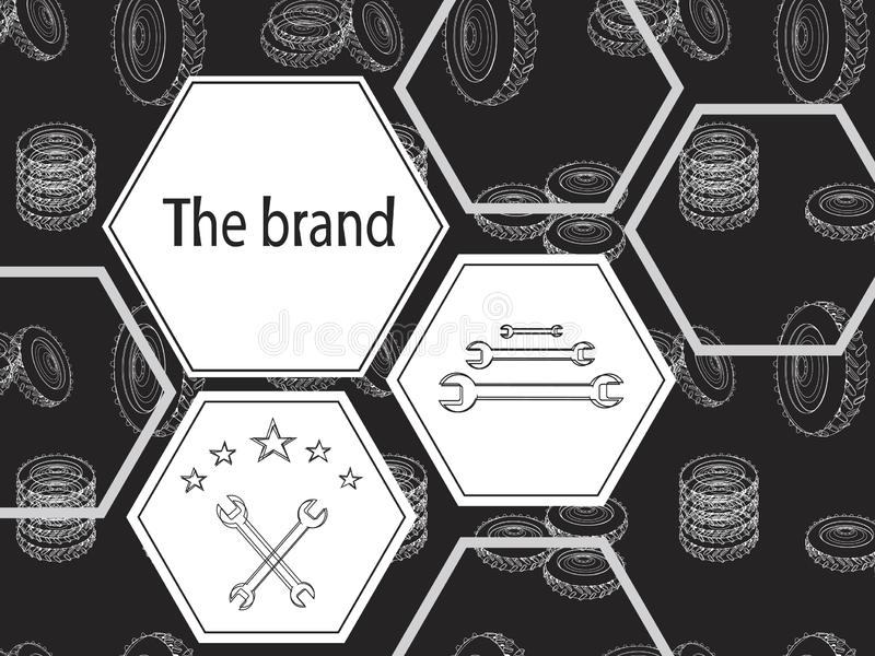 A banner with pentagons and wheels on a black background for tire fitting. Brutal vector illustration for tire fitting. Linear wheels with geometric shapes on a stock photos