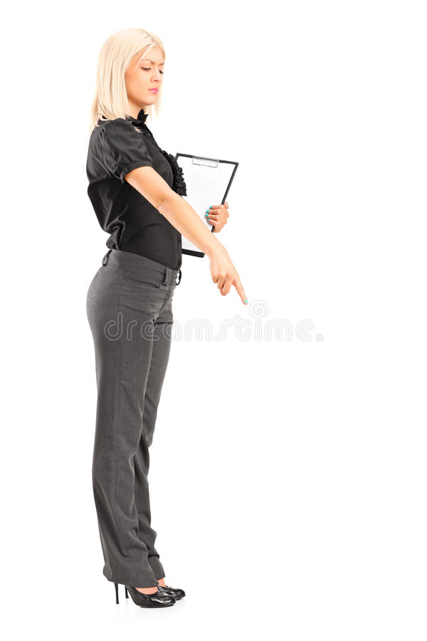 Download Brutal Woman Manager Gesturing With Her Finger Stock Image - Image of conceptual, concept: 28148387
