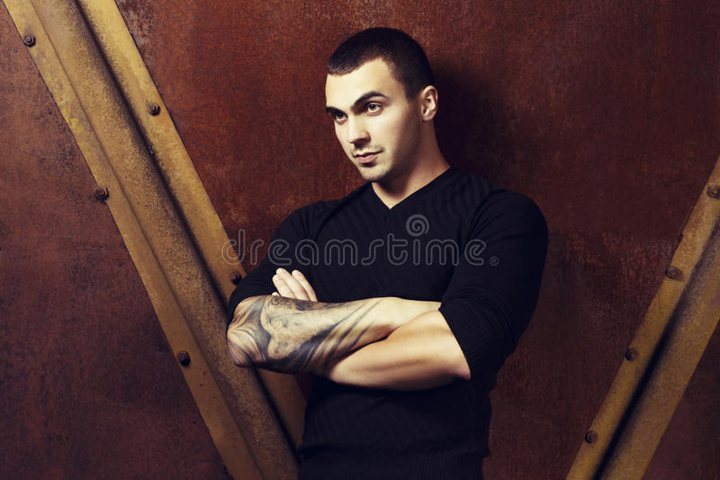 Download Brutal Young Sexual Man In Black Sweater Stock Photo - Image: 34350072