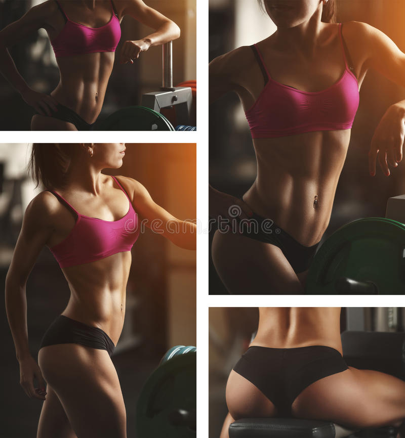 Brutale atletische vrouw die omhoog spieren pompen met stock foto's