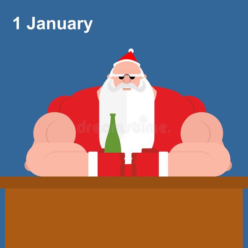 Brutale Santa Claus bij bar Sterke grootvader met bierfles vector illustratie