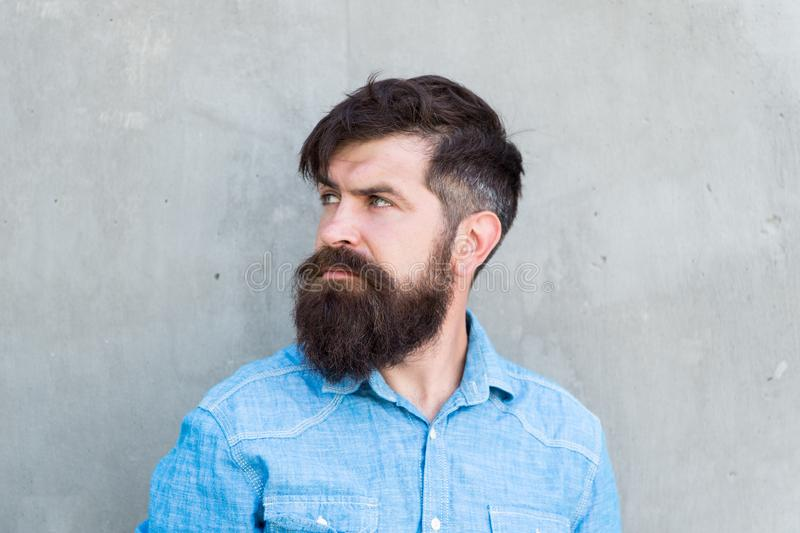 Brutality and beauty. Masculinity concept. Barber shop beard grooming. Feeling manly. Styling beard and moustache. Facial hair treatment. Hipster with beard stock images