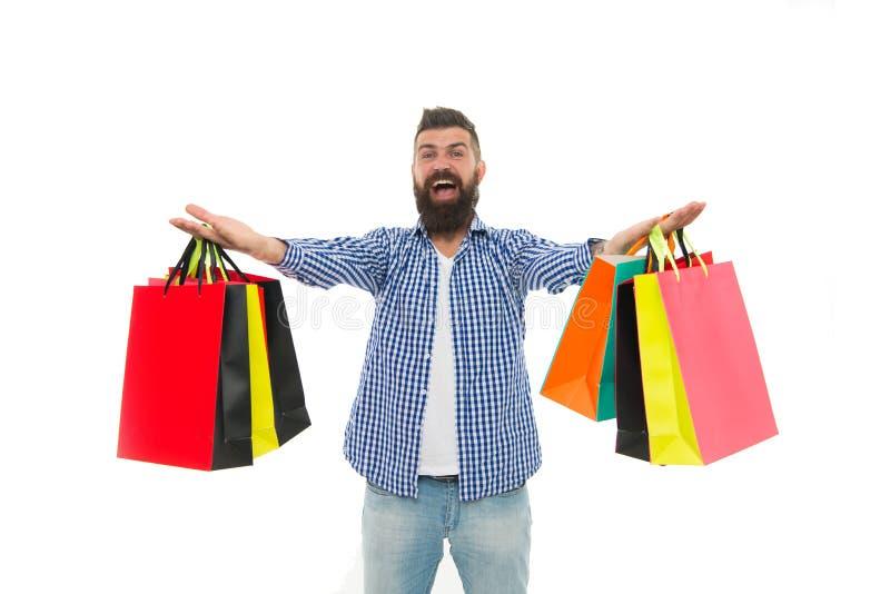 Brutalny caucasian modniś z wąsem Brodaty mężczyzna z torba na zakupy Zakupy sprzedaż Męska fryzjer męski opieka czarny Piątek zdjęcie stock