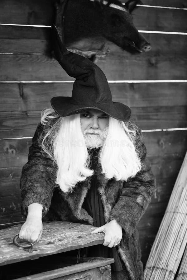 Brutalny druid otwiera drewnianą klatkę piersiową zdjęcie stock