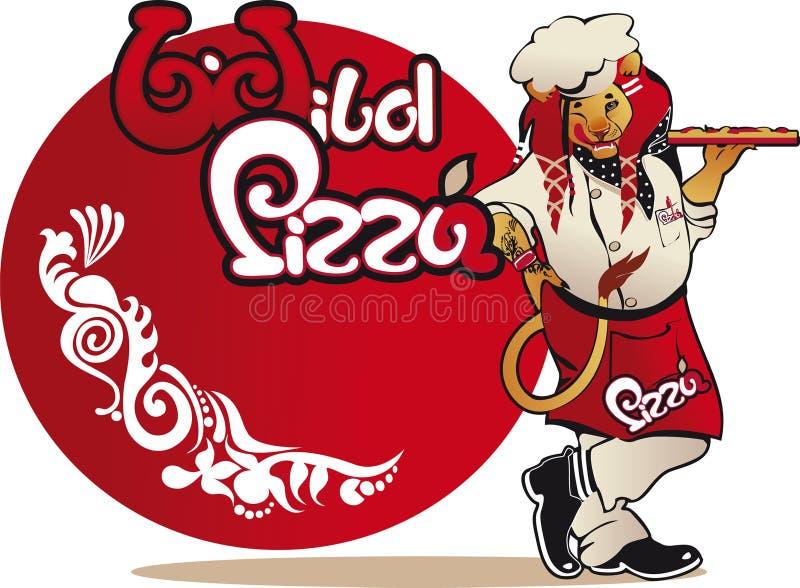 Brutalny lwa kucharz z tacą dziką pizza ilustracji