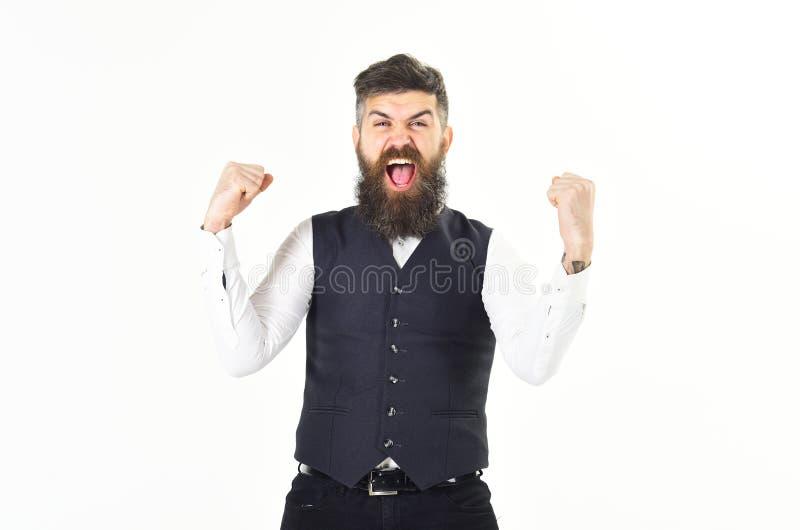 Brutalny mężczyzna krzyczy zwycięstwo i świętuje fotografia stock