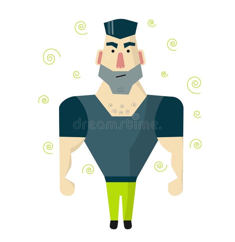 Brutalny mężczyzna z dużymi mięśniami Pracownik ochrony lub ochroniarz ilustracji