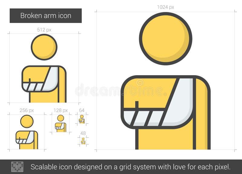 Bruten armlinje symbol stock illustrationer