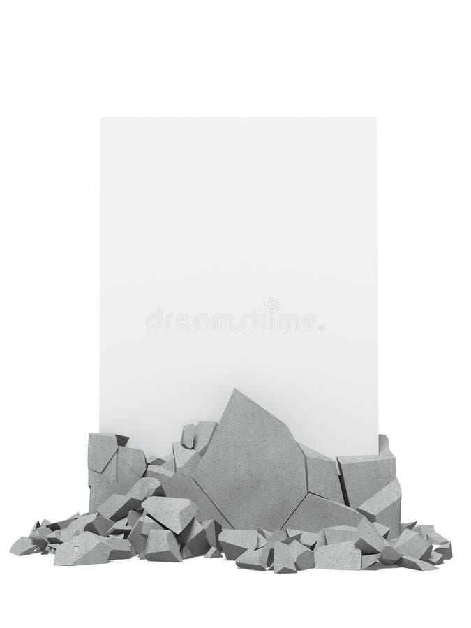Bruten betong med papper royaltyfri foto