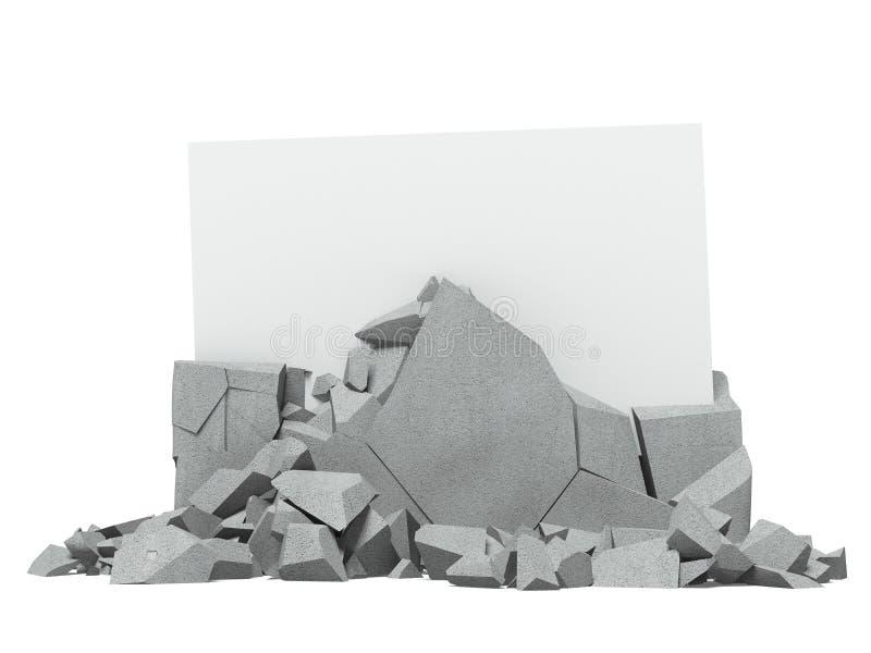 Bruten betong med papper inom fotografering för bildbyråer
