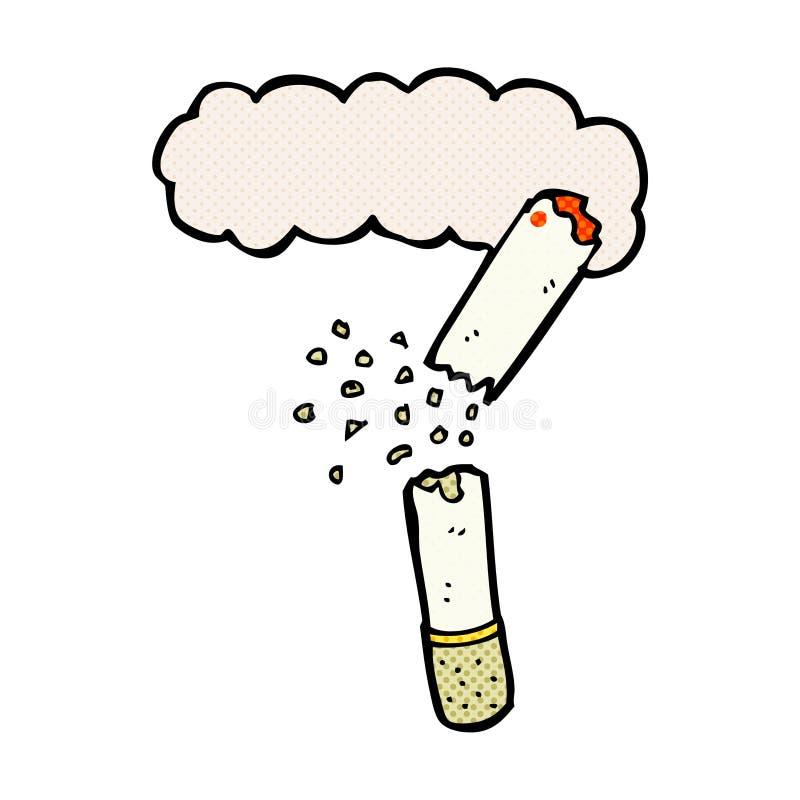 bruten cigarett för komisk tecknad film royaltyfri illustrationer