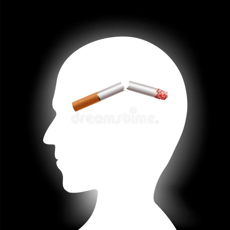 Bruten cigarett inom det mänskliga huvudet Skadlig vana av att röka stock illustrationer