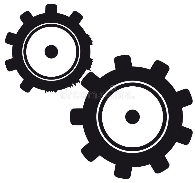 Bruten cogwheel vektor illustrationer