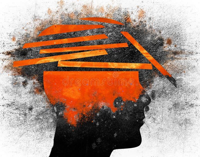Bruten digital illustration för mänskligt huvud vektor illustrationer