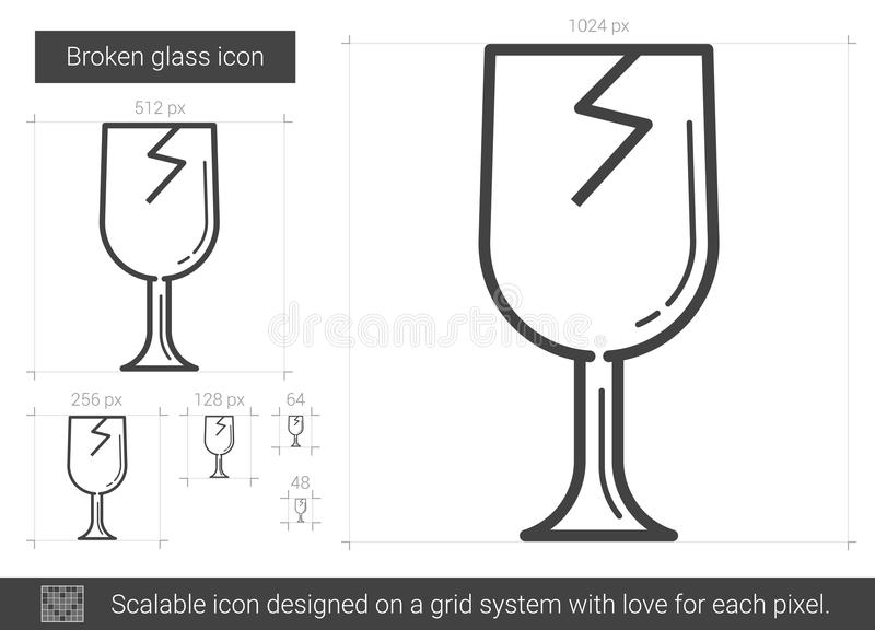 Bruten glass linje symbol stock illustrationer