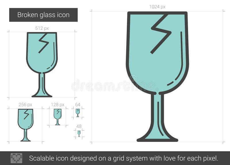 Bruten glass linje symbol vektor illustrationer