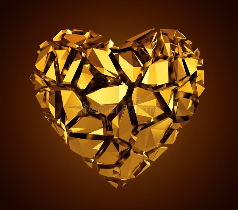 bruten guld- crystal hjärta 3d royaltyfri fotografi