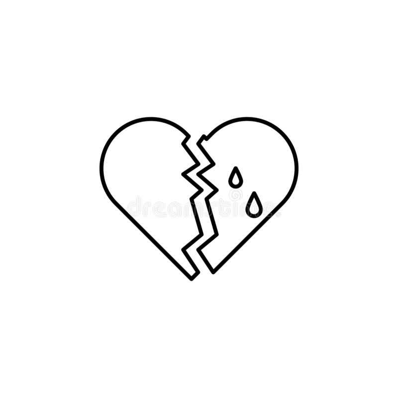bruten hjärta, dödöversiktssymbol detaljerad uppsättning av dödillustrationsymboler Kan anv?ndas f?r reng?ringsduken, logoen, den royaltyfri illustrationer