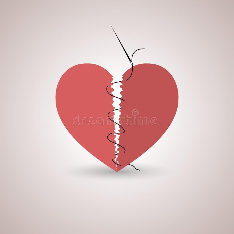 Bruten hjärta för symbol, vektorillustration stock illustrationer
