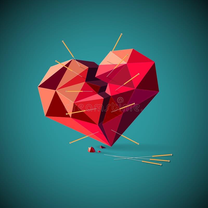Bruten hjärta med akupunkturvisare stock illustrationer