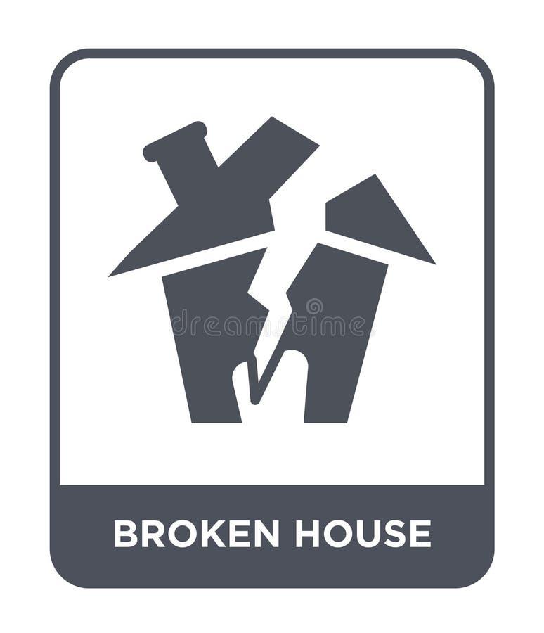 bruten hussymbol i moderiktig designstil bruten hussymbol som isoleras på vit bakgrund bruten enkel husvektorsymbol och stock illustrationer