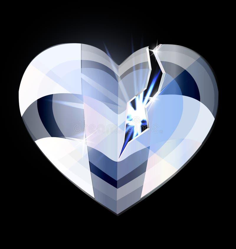 Bruten ishjärta-kristall royaltyfri illustrationer