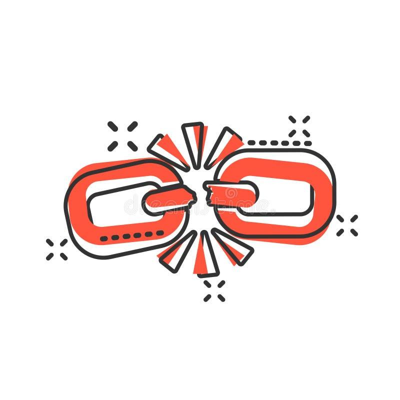 Bruten kedjeteckensymbol i komisk stil Koppla från illustrationen för sammanlänkningsvektortecknade filmen på vit isolerad bakgru stock illustrationer