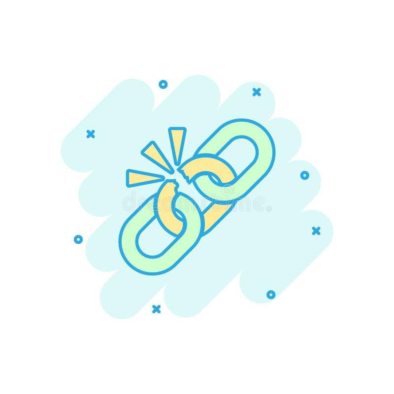Bruten kedjeteckensymbol i komisk stil Koppla från illustrationen för sammanlänkningsvektortecknade filmen på vit isolerad bakgru vektor illustrationer