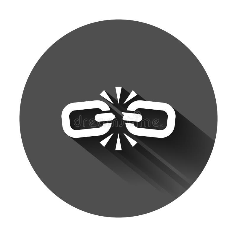 Bruten kedjeteckensymbol i plan stil Koppla från sammanlänkningsvektorillustrationen på svart rund bakgrund med lång skugga avriv stock illustrationer