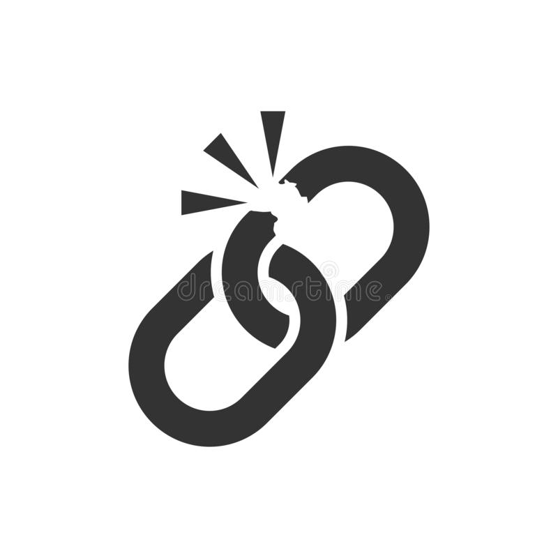 Bruten kedjeteckensymbol i plan stil Koppla från sammanlänkningsvektorillustrationen på vit isolerad bakgrund Avriv affärsid royaltyfri illustrationer
