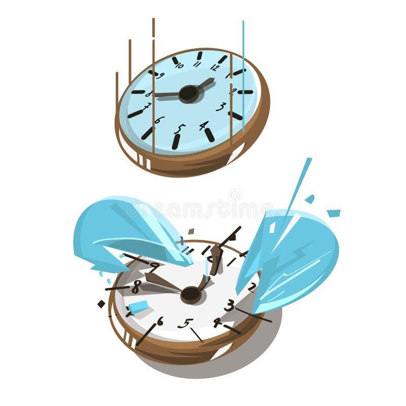 Bruten klocka som ner faller och slutbegreppet fantastiska tider royaltyfri illustrationer