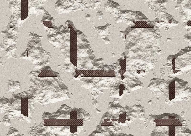 Bruten konkret textur av en torr vägg stock illustrationer
