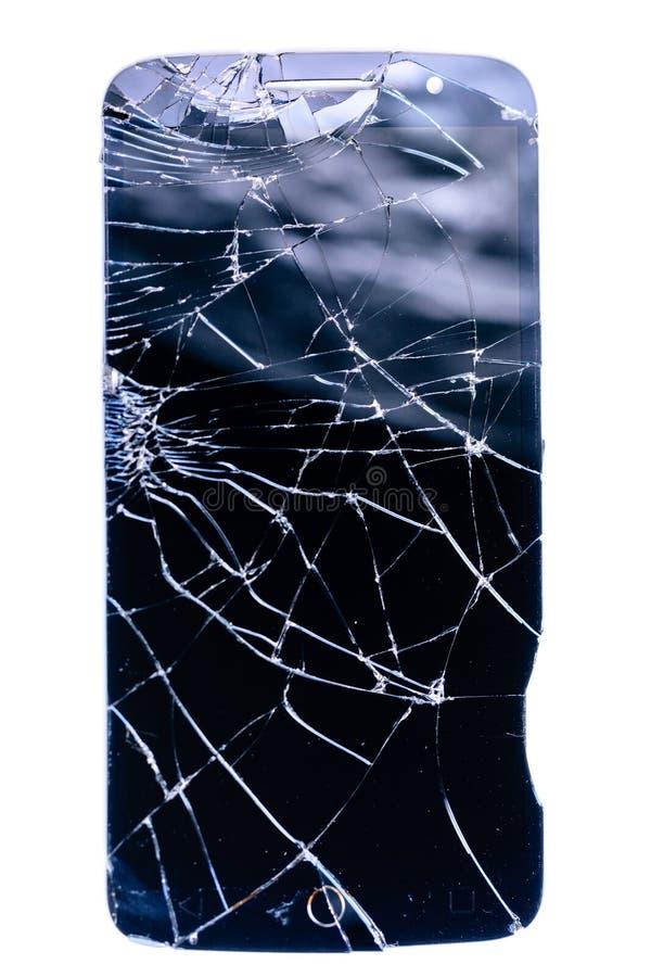 Bruten och sprucken exponeringsglassmartphoneskärm, vita linjer på den svarta skärmen på vit bakgrund, designbeståndsdel, bakgrun royaltyfria bilder