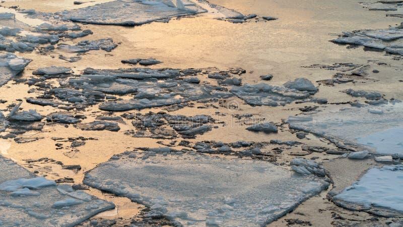 Bruten is på en vinterflod med solnedgånghimmelreflexion royaltyfri bild