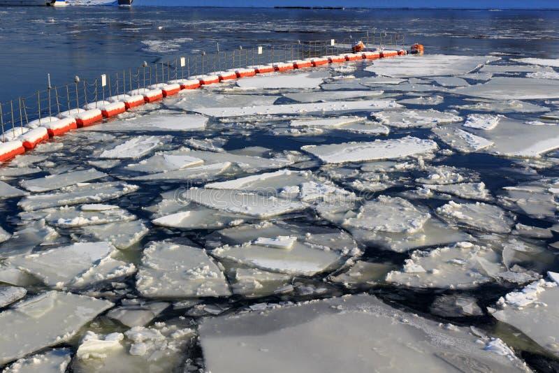 Bruten is på yttersidan av floden i vinter arkivbild
