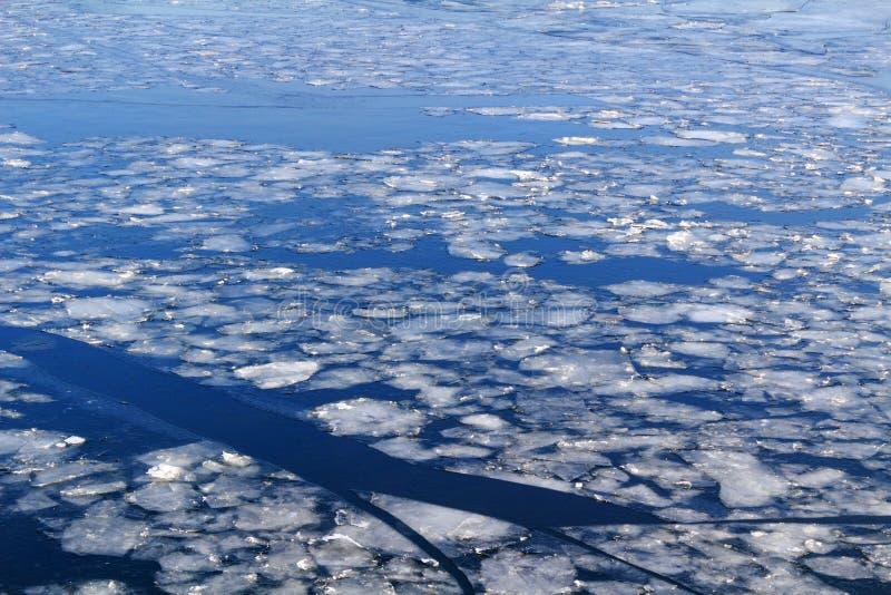 Bruten is på yttersidan av floden i vinter royaltyfri bild