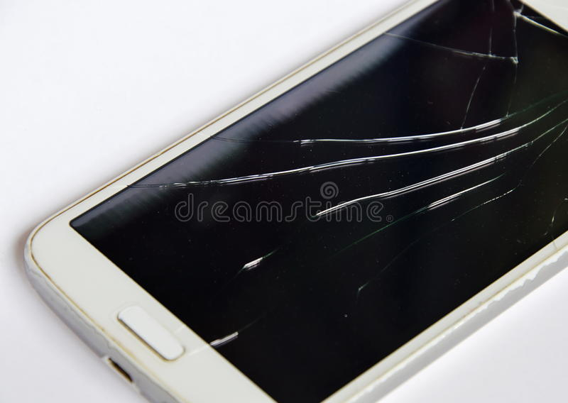 Bruten pekskärm av mobiltelefonen royaltyfri bild