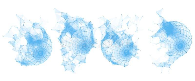 Bruten Polygonal Wireframe sfär bilda geometriskt Linjer nätverkspolygoner av cirkeln stock illustrationer
