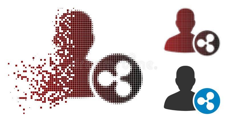 Bruten rastrerad krusning Person Loan Icon för PIXEL stock illustrationer