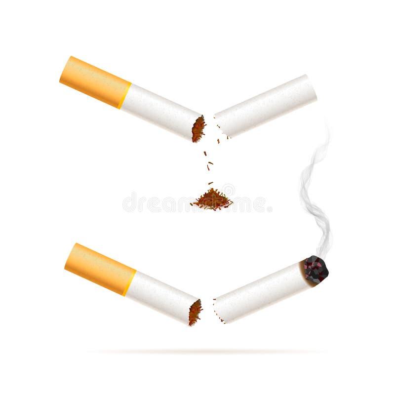 Bruten realistisk cigarett Avslutad röka befruktningillustration stock illustrationer