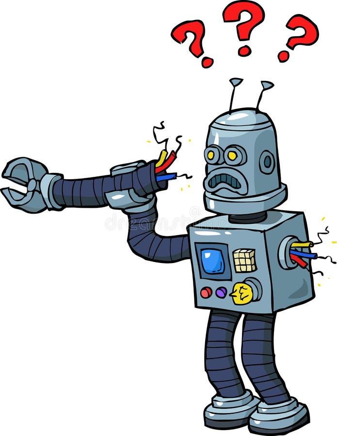 Bruten robot för tecknad film stock illustrationer